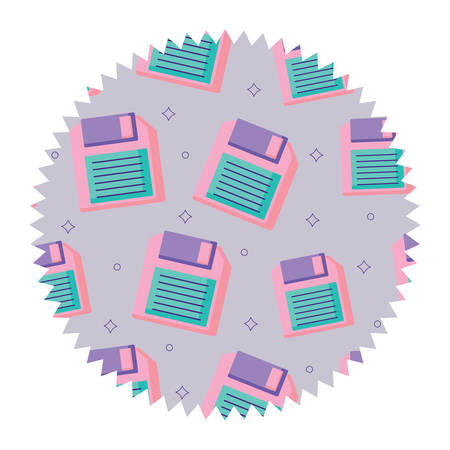 seal stamp with diskette pattern over white background, vector illustration