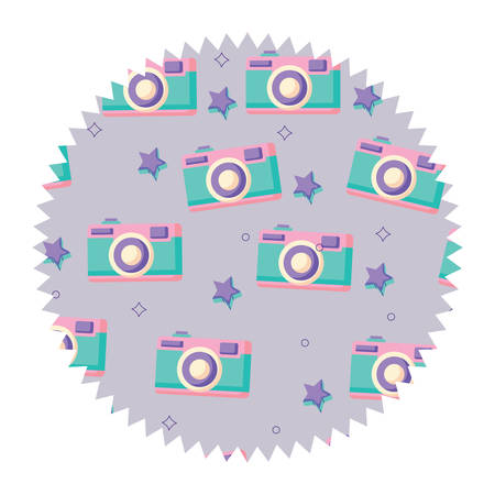 with photographic camera pattern over white background, vector illustration Vectores