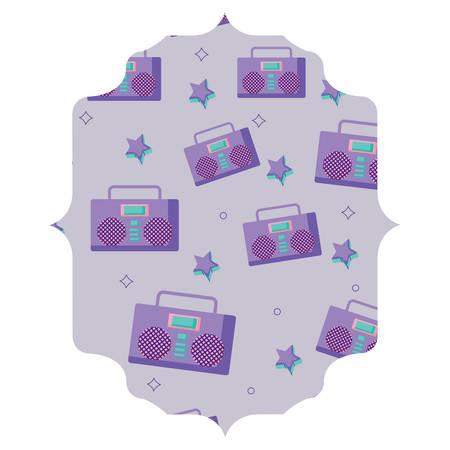 Marco árabe con estéreo Boombox y patrón de estrellas sobre fondo blanco, ilustración vectorial