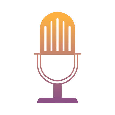 retro microphone icon over white background, vector illustration