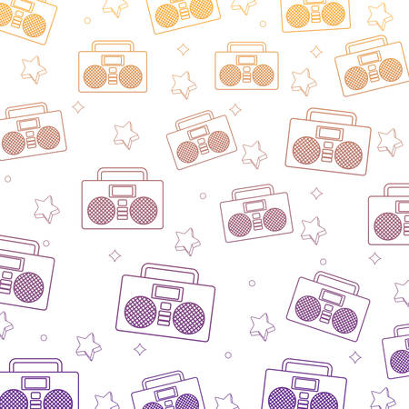 background of Boombox stereo and stars pattern, vector illustration Ilustração