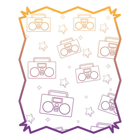 abstract frame with Boombox stereo and stars pattern over white background, vector illustration