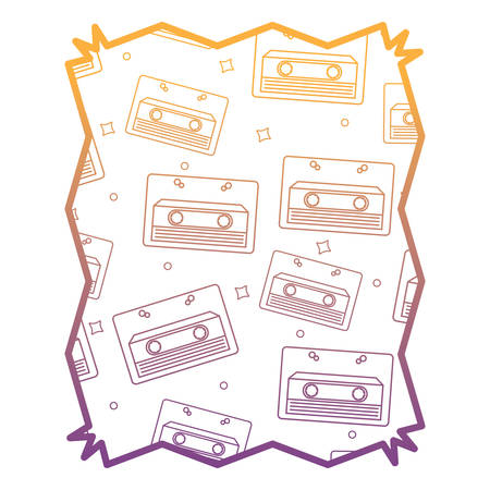 Abstract frame with Cassette pattern over white background, vector illustration