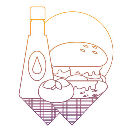 ketchup sauce and hamburger over white background, vector illustration Vectores