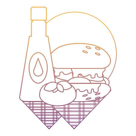 ketchup sauce and hamburger over white background, vector illustration Illustration