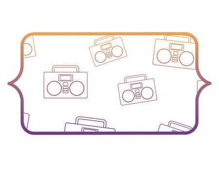 banner with Boombox stereo and stars pattern over white background, vector illustration Illustration