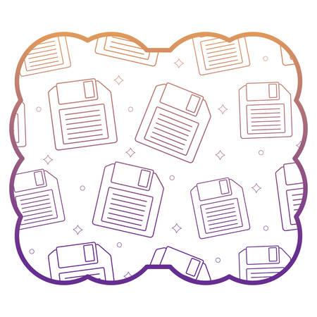decorative frame with diskette pattern over white background, vector illustration Illustration
