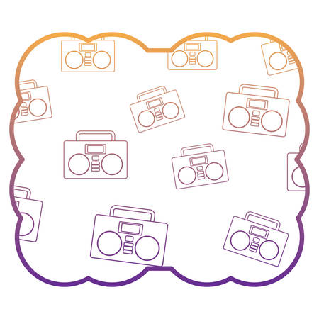 decorative frame with Boombox stereo and stars pattern over white background, vector illustration