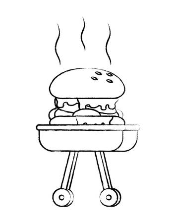 hamburger on bbq grill over white background, vector illustration