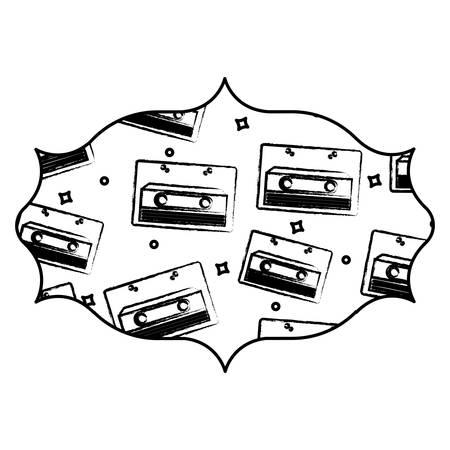 Cadre arabe avec motif Cassette sur fond blanc, illustration vectorielle