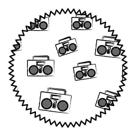 Sello de sello con estéreo Boombox y patrón de estrellas sobre fondo blanco, ilustración vectorial