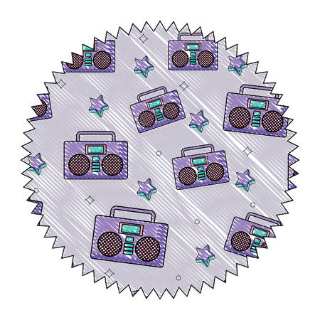 seal stamp with Boombox stereo and stars pattern over white background, vector illustration