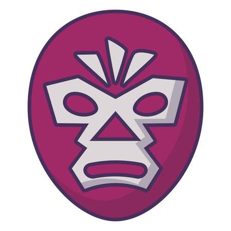 wrestler mask icon over white background, vector illustration