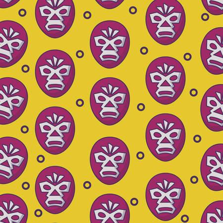 background of wrestler mask pattern, vector illustration