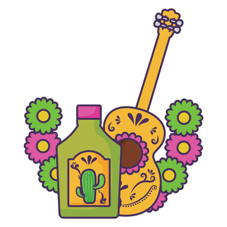 decorative wreath of flowers with tequila bottle and guitar icon over white background, vector illustration