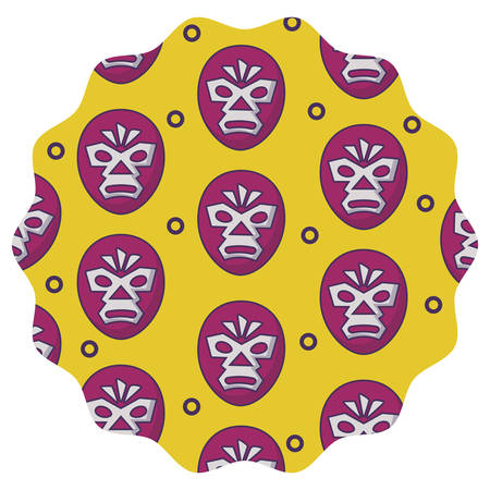 circular frame with wrestler mask pattern over white background, vector illustration Illustration