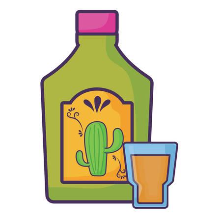 tequila bottle and shot over white background, vector illustration