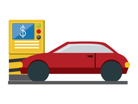 parking machine and car over white background, vector illustration