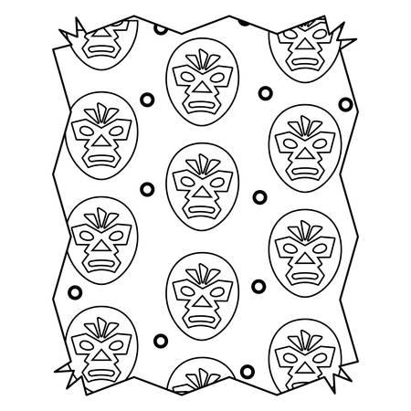 abstract frame with wrestler mask pattern over white background, vector illustration Illustration