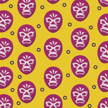achtergrond van het patroon van het worstelaarmasker, vectorillustratie