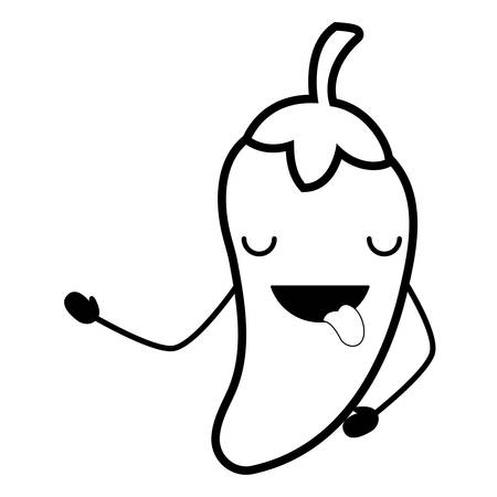 chili showing the tongue over white background, vector illustration