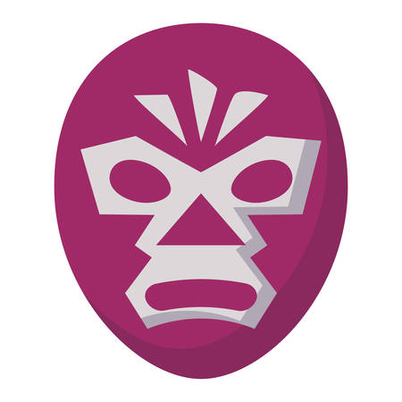 wrestler mask icon over white background, vector illustration