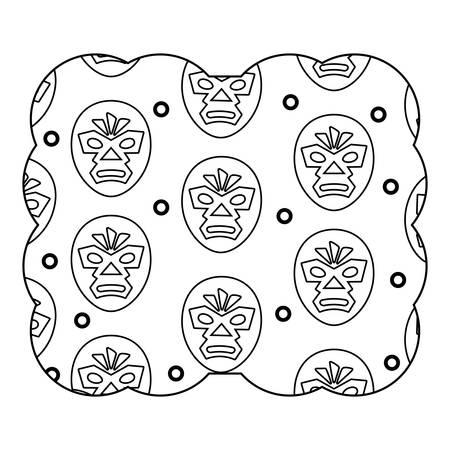 decoratief frame met worstelaar masker patroon op witte achtergrond, vector illustratie