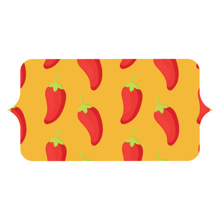 banner with chili pepper pattern over white background, vector illustration Illustration