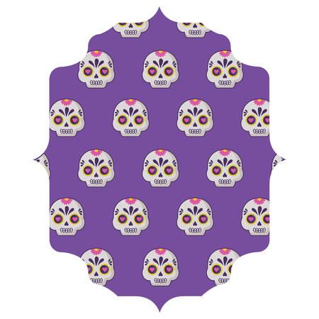 arabic frame with Sugar skulls pattern over white background, vector illustration