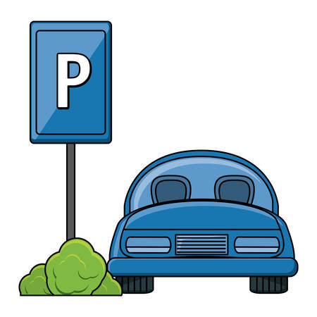 parked car in parking zone over white background, vector illustration