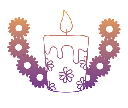 decorative wreath of flowers with candle icon over white background, vector illustration Illustration