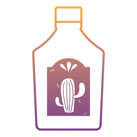 tequila bottle icon over white background, vector illustration