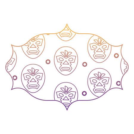 arabic frame with wrestler mask pattern over white background, vector illustration Standard-Bild - 101682521