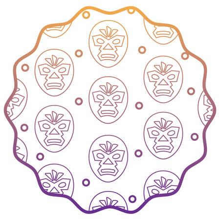 circular frame with wrestler mask pattern over white background, vector illustration