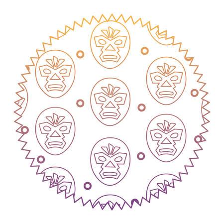 zegel stempel met worstelaar masker patroon op witte achtergrond, vector illustratie