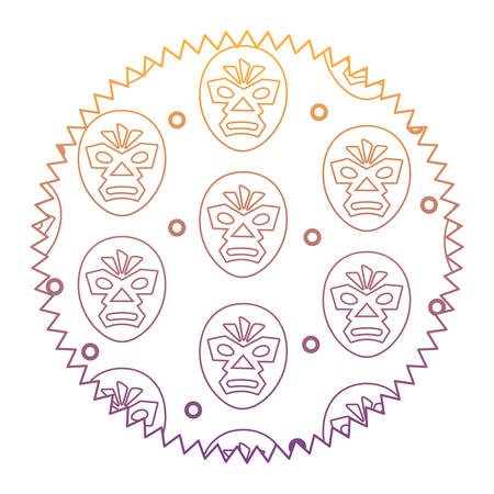 seal stamp with wrestler mask pattern over white background, vector illustration