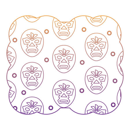decorative frame with wrestler mask pattern over white background, vector illustration