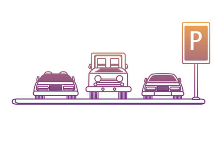 Parking zone with cars over white background, vector illustration