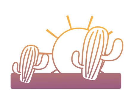 sun and cactus design. over white background, vector illustration
