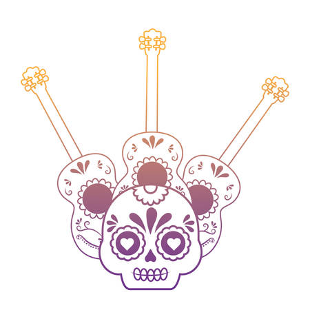 guitars and Mexican sugar skyll icon over white background, vector illustration