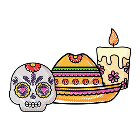 mexican hat and sugar skull over white background, vector illustration Illustration