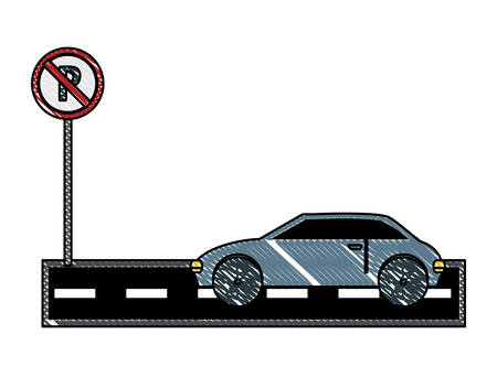 car in no parking zone over white background, vector illustration