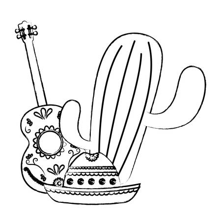 cactus plant with mexican guitar and guitar over white background, vector illustration