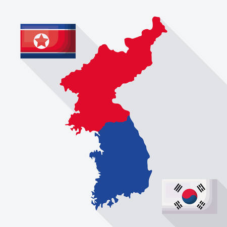 north korea map over white  background, colorful design. vector illustration