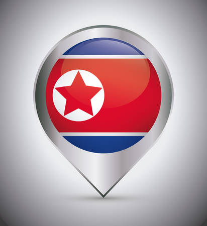 location pin with north korea flag over gray background, colorful design. vector illustration 矢量图像