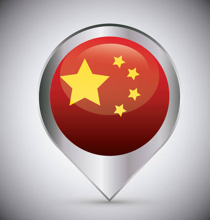 location pin with china flag over gray background, colorful design. vector illustration