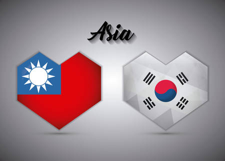 hearts of taiwan and south korea flags over gray background, vector illustration Illustration