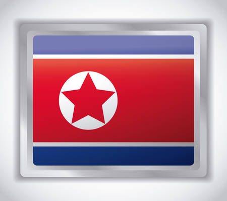 north korea flag over gray background, colorful design. vector illustration 矢量图像
