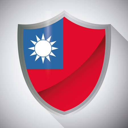 shield with taiwan flag over gray background, colorful design. vector illustration