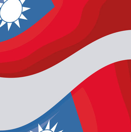 taiwan flag over gray background, colorful design. vector illustration